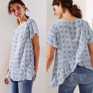 LOFT | Ruffled Medallion Crossover Top